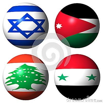 Israel Jordan Lebanon Syria flags