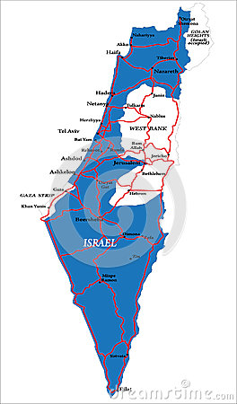 Israel map isolated on white