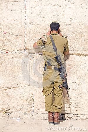 Israel military man praying The Western Wall Editorial Photography