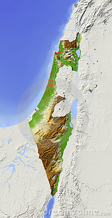 Israel, shaded relief map