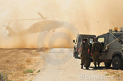 Israeli Army and Helicopter Editorial Image