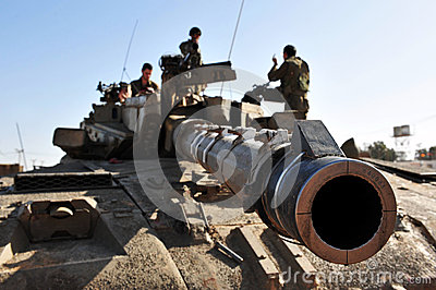 Israeli Army Tank near Gaza Strip Editorial Stock Photo