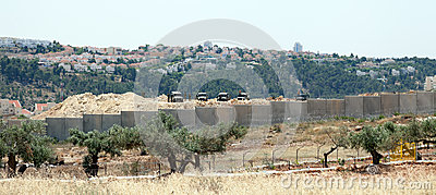Israeli Army by the Wall of Separation Editorial Photo