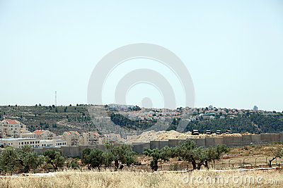 Israeli Army by the Wall of Separation Editorial Stock Image