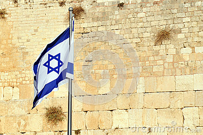 The Israeli Flag against the Wailing Wall