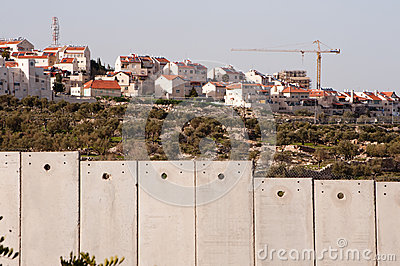 Israeli separation wall and settlement Editorial Image
