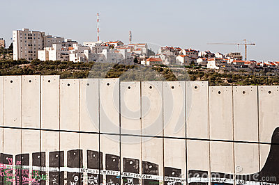 Israeli separation wall and settlement Editorial Photography