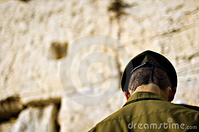 Israeli soldier praying at the wailing wall, Jerusalem Israel