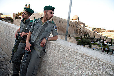 Israeli Soldiers and Al-Aqsa Mosque Editorial Photo