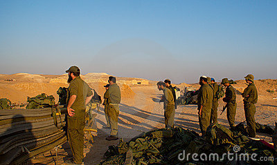 Israeli soldiers excersice in a desert Editorial Image