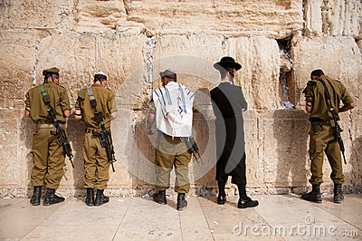 Israeli soldiers at Jerusalem s Western Wall Editorial Photo
