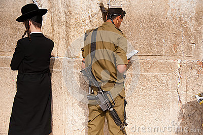 Israeli soldiers at Jerusalem s Western Wall Editorial Stock Image