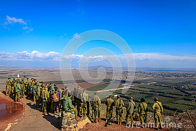 Israeli soldiers on Mount Bental Editorial Image