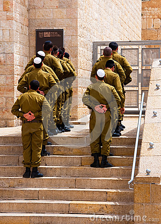 The Israeli soldiers near a western wall, Editorial Photography