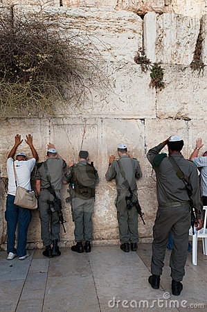 Israeli Soldiers at the Western Wall Editorial Image