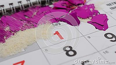 Ist auf dem Tisch der der Dezember-Kalender des neuen Jahres Der Wind brennt Schnee weg vom Kalender durch und die Zahl erscheint stock video