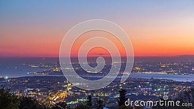Istanbuł nocy linii horyzontu scenerii klasyczny dzień nocy timelapse, widok nad Bosporus kanałem zbiory wideo