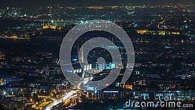 Istanbuł nocy linii horyzontu scenerii klasyczny timelapse, widok nad Bosporus kanałem zbiory wideo