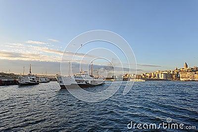 Istanbul Galata Brdige and Steamships