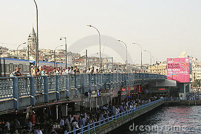 Istanbul - Galata Bridge on the Golden Horn Editorial Photography