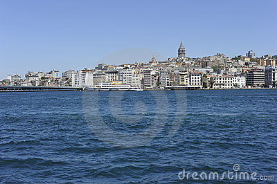 Istanbul, Galata Tower,  Bosporus Shoreline Editorial Stock Photo