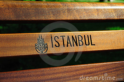 Istanbul logo on a public bench Editorial Image