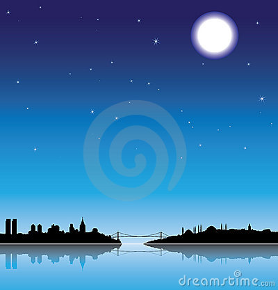 Free Istanbul Silhouette At Night Royalty Free Stock Photo - 6014855