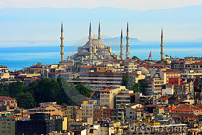 Istanbul skyline with blue mosque