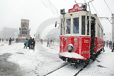 Istanbul on a snowy day Editorial Stock Photo