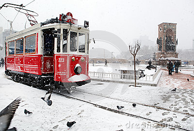 Istanbul on a snowy day Editorial Stock Image