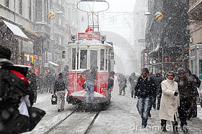 Istanbul on a snowy day Editorial Photo