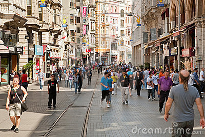 Istiklal Avenue in Istanbul, Turkey Editorial Photography