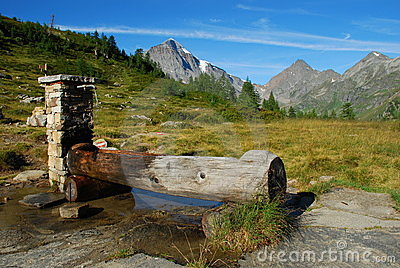 Italian Alps, water fountain