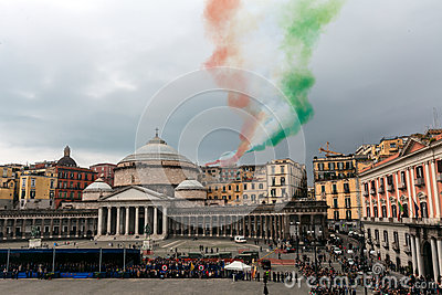 Commemoration of the centenary celebration with the Italian air force  Editorial Stock Photo