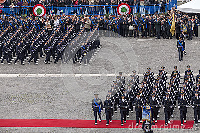 Commemoration of the centenary celebration with the Italian air force  Editorial Photo