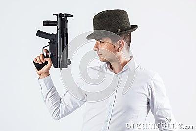 Italian assassin holding gun