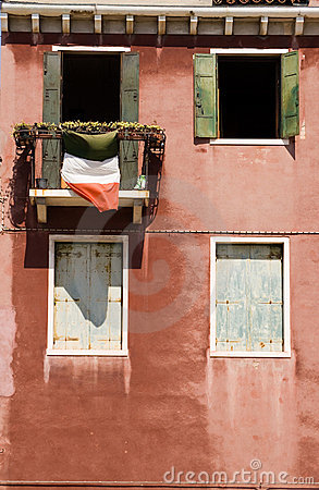 Italian balcony with flag