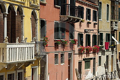 Italian balcony with flowers