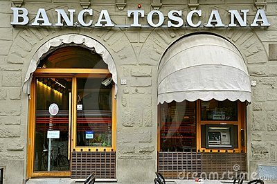 Italian bank in Tuscany Editorial Photography
