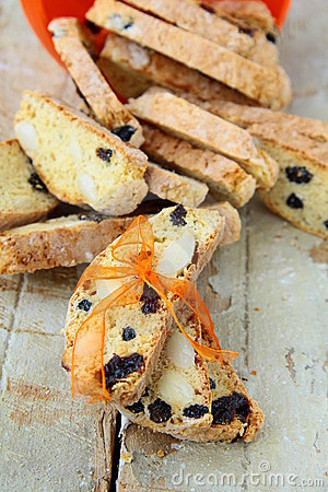 Italian biscotti cookies with a ribbon