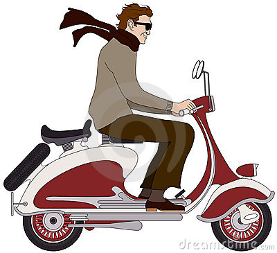 Italian boy on a scooter
