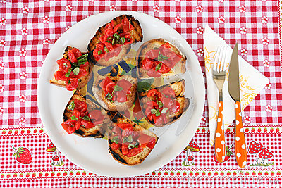 Italian bruschetta  with tomato, garlic and basil