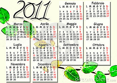 Italian calendar 2011