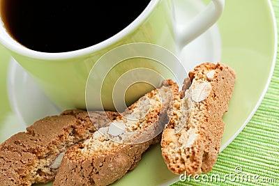 Italian cantuccini cookies and coffee cup