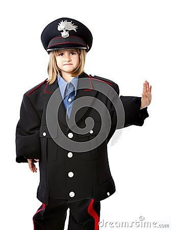 Italian carabiniere stop gesture