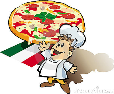 Italian chef cook with pizza giant