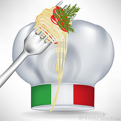 Italian chef hat with pasta