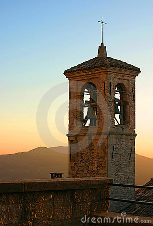 Italian church tower at dusk