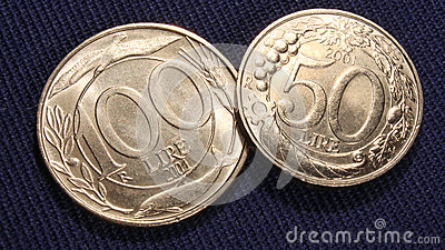 Italian coins 100 and 50 lire