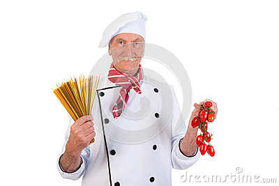 Italian cook with pasta and tomatoes